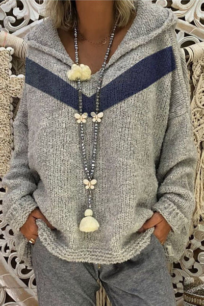 Ootdgal V-Neck Hooded Grey Sweater Without Necklace(3 Colors)