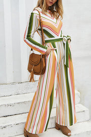 Ootdgal Striped Lace Long Sleeve Color Bar Jumpsuit