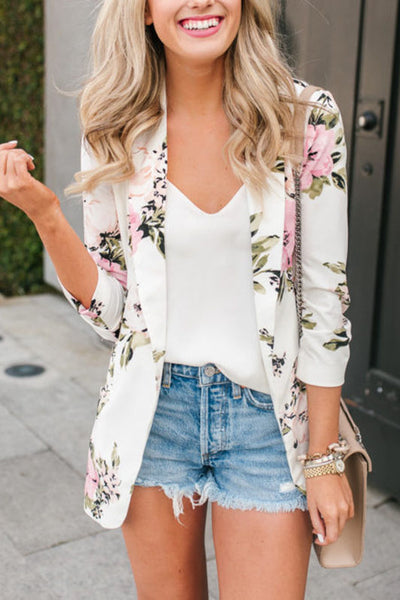 Ootdgal Printed White Coat