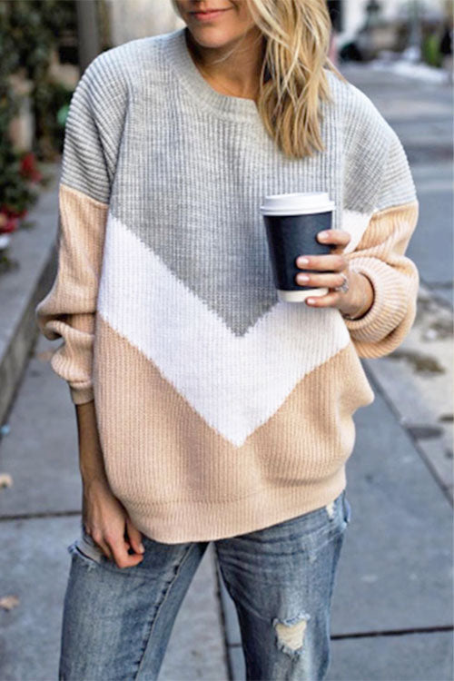 Ootdgal Round Neck Long Sleeve Contrast Sweater