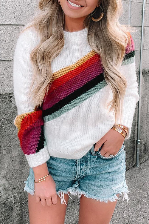 Ootdgal Round Neck Striped Color Matching Sweater