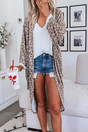 Ootdgal Long Leopard  Casual Cardigan