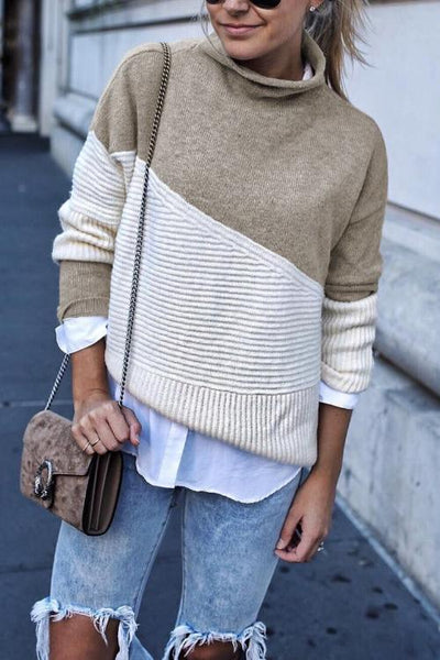 Ootdgal Long Sleeves Patchwork Sweaters