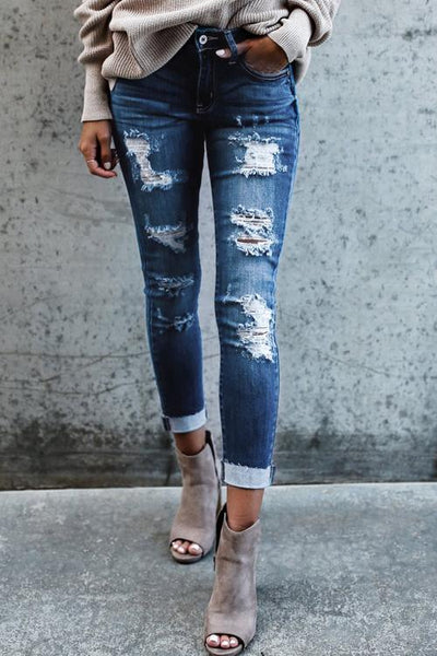 Ootdgal Street Style Solid Vintage Holes Zipper Fly Mid Skinny Ripped Jeans
