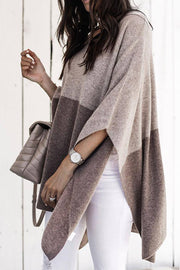 Ootdgal V-Neck Loose Shawl Camel Sweater