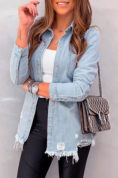Ootdgal Hole Single Row Button Light Blue Denim Jacket (2 colors)