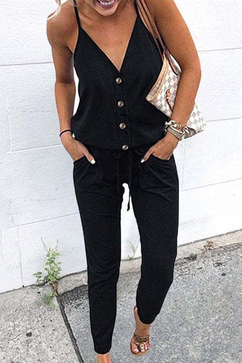 Ootdgal Casual V Neck Lace-up Jumpsuit