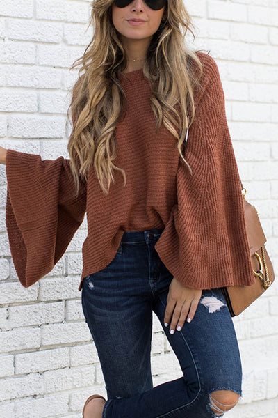 Ootdgal Coffee Big Sleeve Sweater