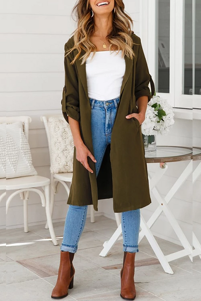 Ootdgal Casual Kick Pleat Olive Trench Coats