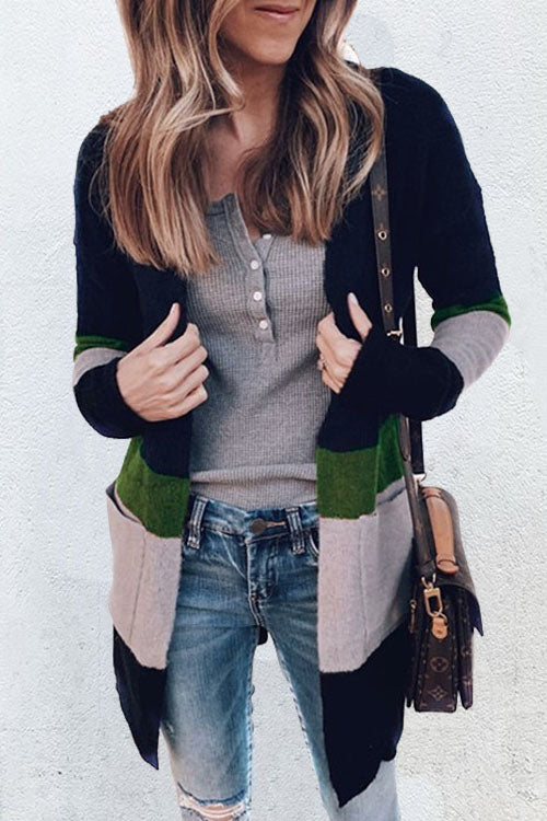 Ootdgal Casual Striped Multicolor  Pocket Cardigan