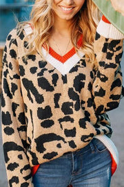 Ootdgal V-Neck Colorblock Long-Sleeved Leopard Sweater