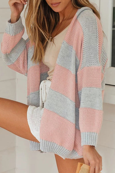 Ootdgal V-Neck Long-Sleeved Striped Pink Cardigan