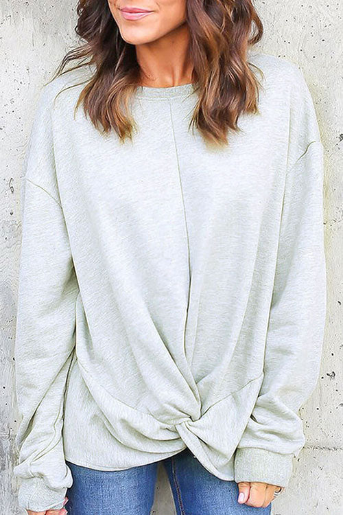 Ootdgal O-Round Neck Solid Color Sweater