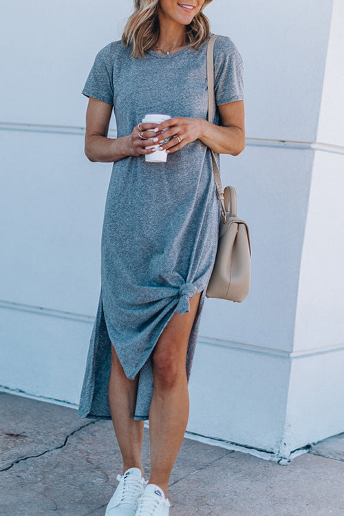 Ootdgal Solid Color Round Neck Split Dress