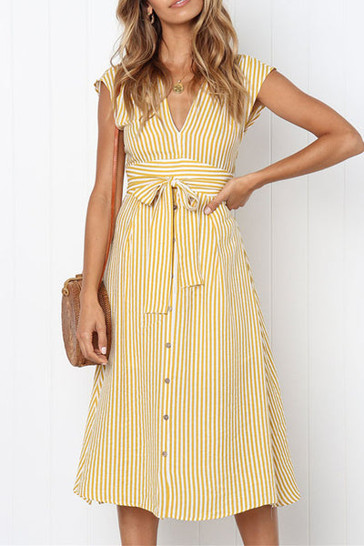 Ootdgal V-Neck Slim Striped Dress