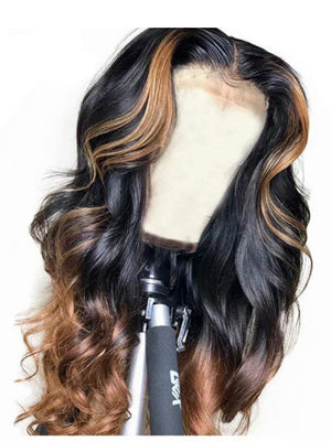 Long Body Wave Ombre Brown Human Lace Front Wigs Ombre Color 1B/30 150% Density Preplucked Hairline Full Lace Wigs With Highlight