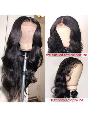 Lace Front Wigs Brazilian Body Wave Human Hair Wigs For Black Women 150% Density Pre Plucked with Baby Hair Natural Black