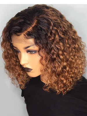 1B/27 Ombre Color Short Curly Lace Front Human Hair Wigs With Baby Hair Pre Plucked Remy Brazilian Lace Bob Wigs Bleached Knots