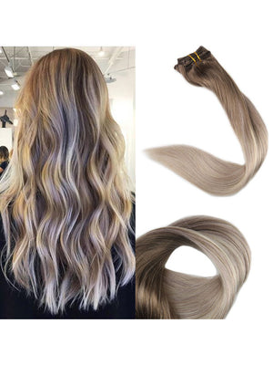 Ombre Blonde Balayage Clip in Hair Extensions #8 Fading to #60 #18