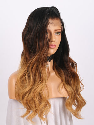 Long Wavy Realistic Ombre Brown Human Lace Front Wigs