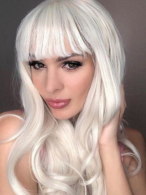 Long Blonde Wavy Synthetic Wigs with bangs