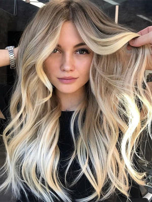 Long Wavy Ombre Blonde Human Lace Front Wigs Preplucked 150 Density  Full Lace Wigs 360 Lace Wigs