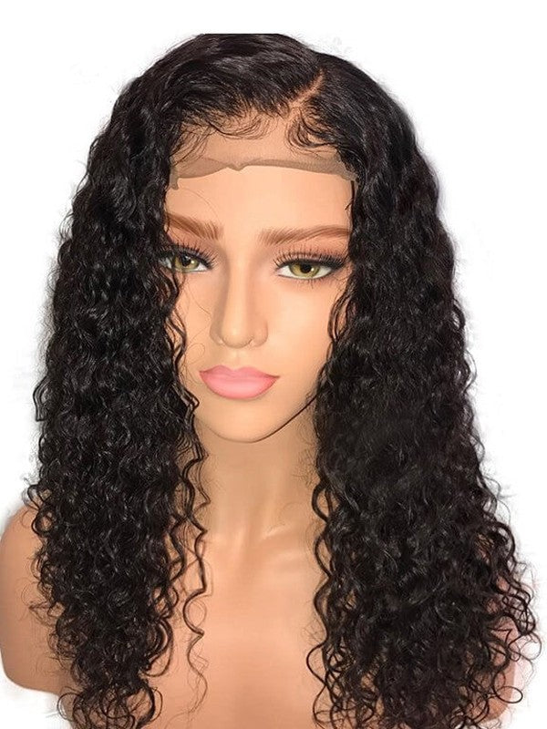 360 Lace Human Hair Wigs Deep Curly 150% Density Pre-Plucked Hairline Glueless Human Wigs for Black Women Natural Color with Baby Hair