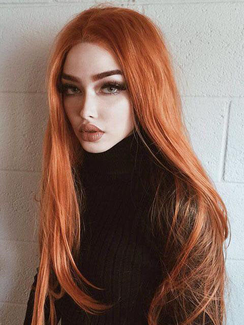 Long Orange  Wavy Synthetic Lace Front Wigs