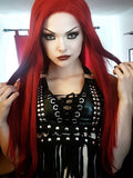 Long Straight Red Synthetic Lace Front Wigs