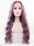 Long Wavy Purple Synthetic Lace Front Wigs