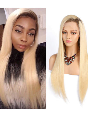 #4/613 Ombre Blonde Lace Front Human Hair Wigs With Baby Hair Pre Plucked  Ombre Straight Remy Glueless Lace Wigs