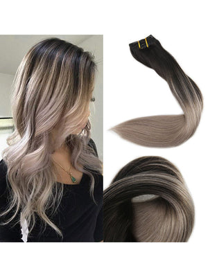 Ombre Ash Blonde Clip In Hair Extensions  #1B Fading to #18