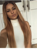 Blonde Ombre Lace Front Human Hair Wigs with Baby Hair Pre-Plucked Virgin Brazilian Ombre Hair Straight Lace Wigs