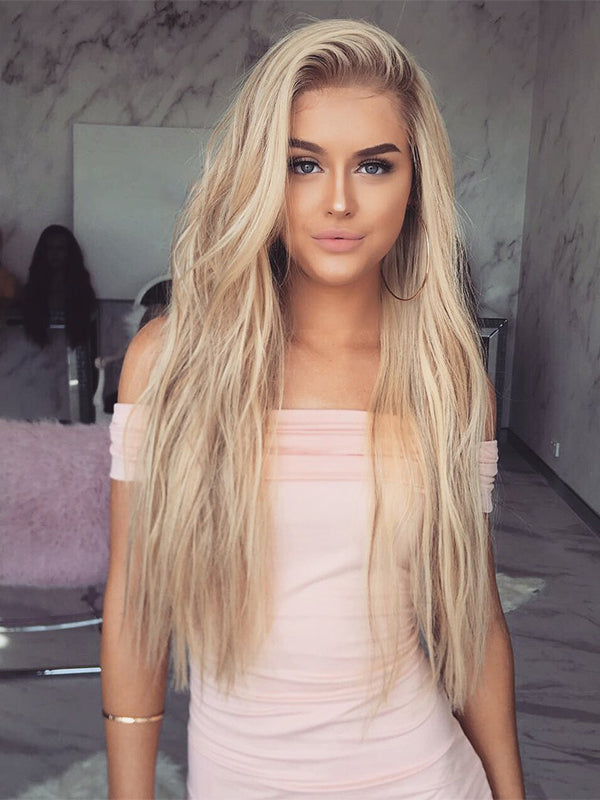 Long Remy Ombre Blonde Human Lace Front Wigs