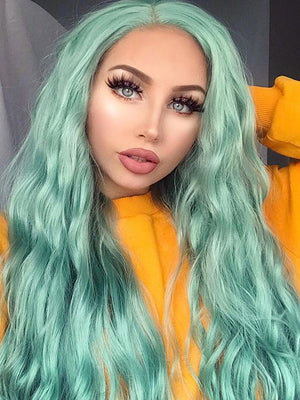 Long Wavy Green Synthetic Lace Front Wigs