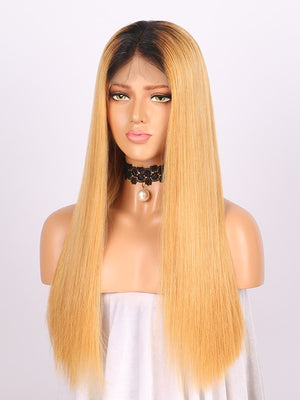 Straight Long Ombre Blonde Human Lace Front Wigs