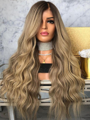 Long Ombre Brown Human Lace Front Wigs Full Lace Wigs 360 Lace Wigs  Preplucked Hairline  with Baby Hair