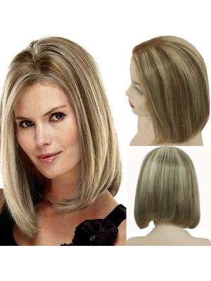 Blonde Bob Lace Front Wigs Human Hair Glueless Ombre Human Hair Bob Wig Highlighted #6 Chestnut Brown with #613 Bleach Blonde Pre Plucked Bob Wigs