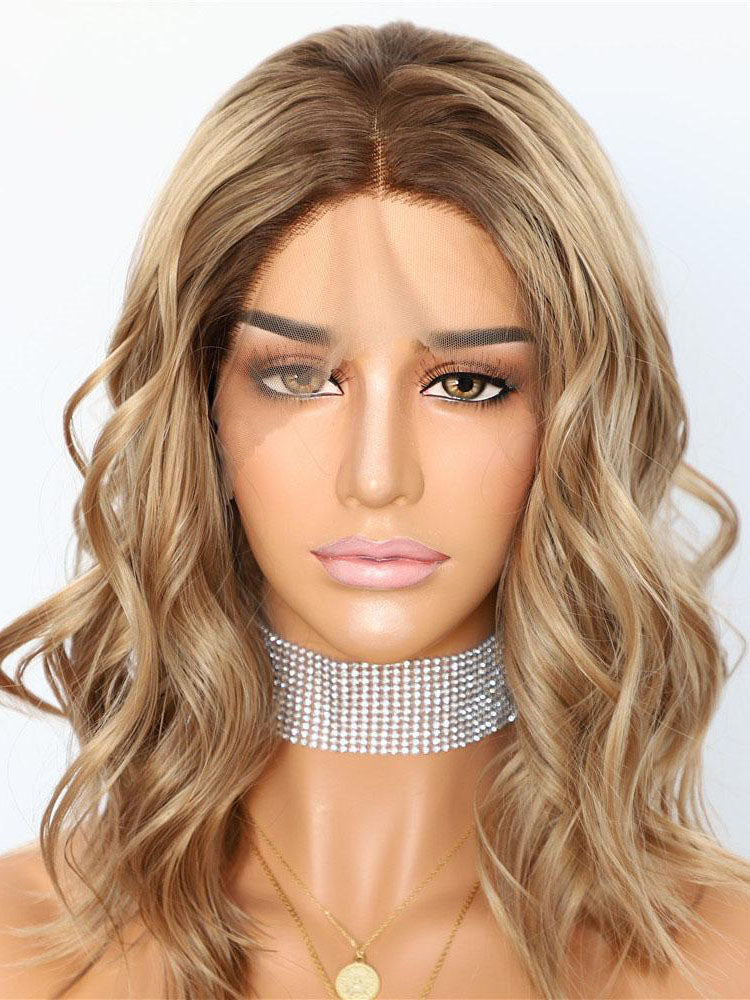 Short Wavy Ombre Brown Synthetic Lace Front Wigs