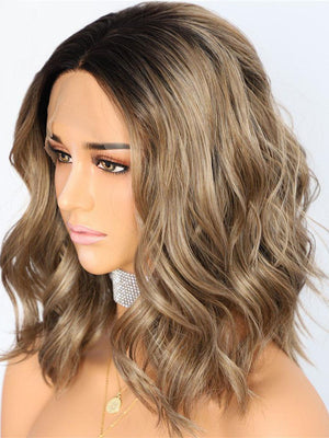 Short Wavy Ombre Dark Brown Synthetic Lace Front Wigs