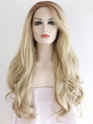 Long Ombre Blonde Wavy Synthetic Lace Front Wigs