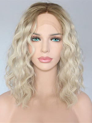 Short Wavy Ombre Blonde Synthetic Lace Front Wigs