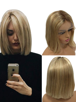 Blonde Short Bob Wigs 13x4 Lace Frontal Bleached Knots with Baby Hair Highlighted #4 Fading to 12/613 wigs for Women