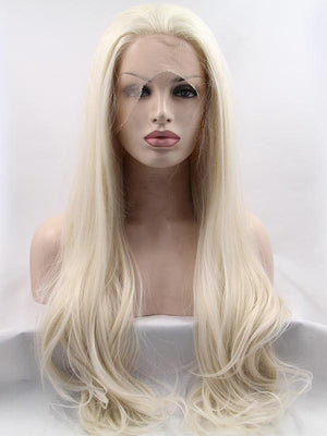 Long Wavy Blonde Synthetic Lace Front Wigs