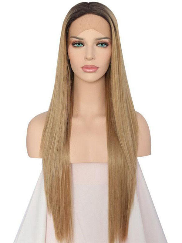 Long Straight Ombre Brown Synthetic Lace Front Wigs