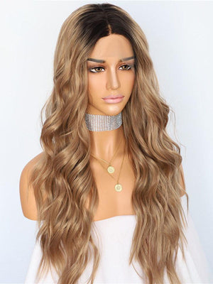 Long Wavy Ombre Brown Synthetic Lace Front Wigs