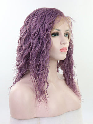 Short Wavy Purple Synthetic Lace Front Wigs