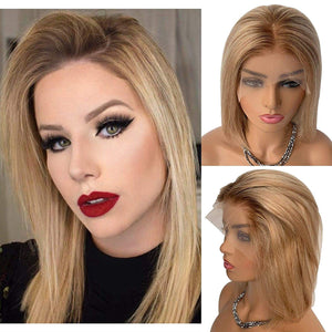 Glueless Omber Golden Blonde Highlights Blonde Human Hair Wigs #4T12/613 150% Density Ombre Blonde Human Wigs