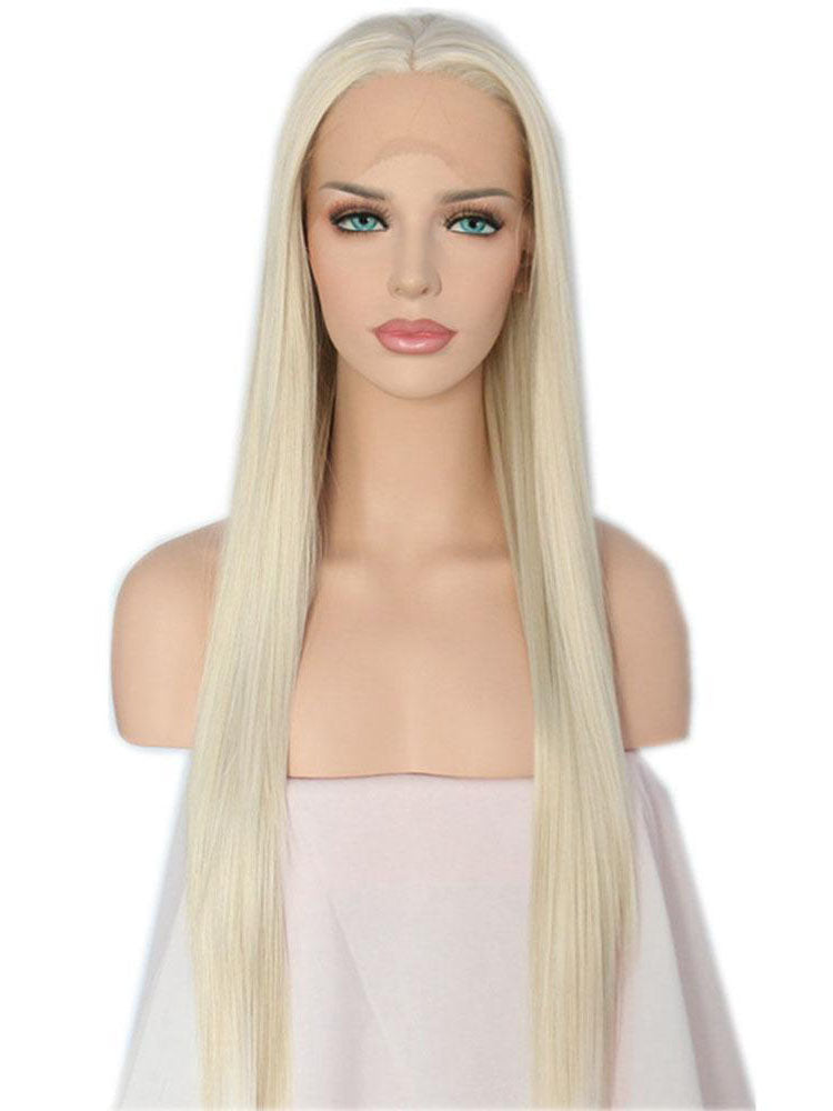 Long Straight Blonde Synthetic Lace Front Wigs
