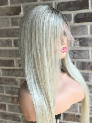 Ombre Platinum Blonde Human Lace Front Wigs Full Lace Wigs 360 Lace Wigs